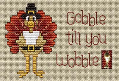 Gobble Til You Wobble Post Stitches cross stitch chart with charm Sue Hillis Des