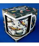 Mug Antique Fishing Lures Original Box Colorful Large Ceramic Mint - $12.00