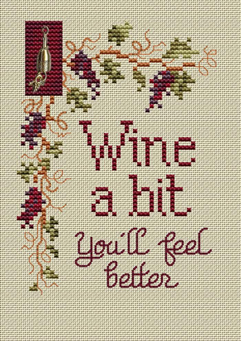 Wine A Bit Post Stitches cross stitch chart with charm Sue Hillis Designs