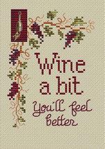 Wine A Bit Post Stitches cross stitch chart with charm Sue Hillis Designs - $5.40