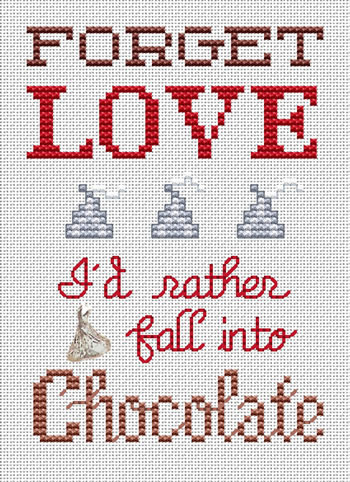 Forget Love Post Stitches cross stitch chart with charm Sue Hillis Designs