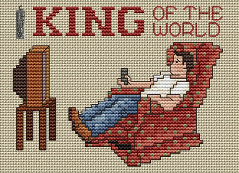 King Of The World Post Stitches cross stitch chart with charm Sue Hillis Designs
