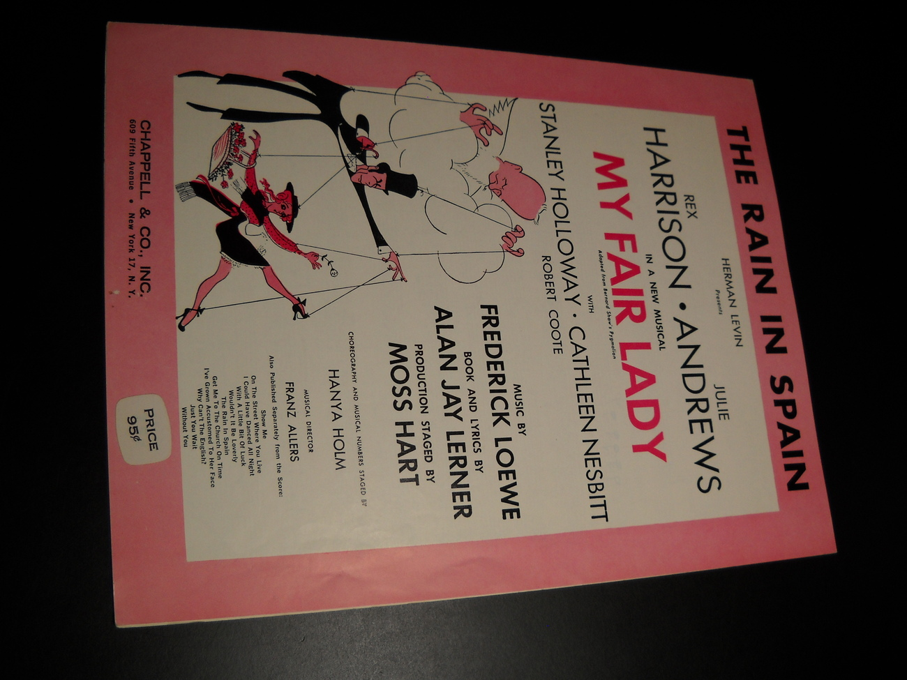 Sheet music the rain in spain my fair lady harrison andrews 1956 chappell  01