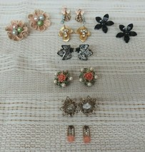 Vintage Lot Of 8 Flower Clip On Earrings Jewelry Lot Pretty - $28.45