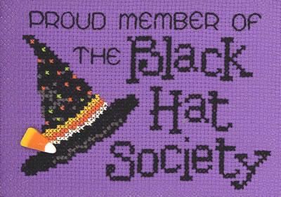 Black Hatter Post Stitches cross stitch chart with button Sue Hillis Designs