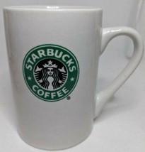 Starbucks Coffee 2008 Double Sided Mermaid Logo White Green Ceramic Mug 10 oz - $11.83