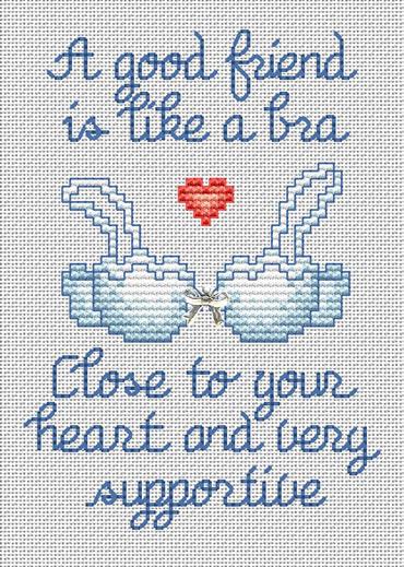 A Good Friend Post Stitches cross stitch chart with charm Sue Hillis Designs