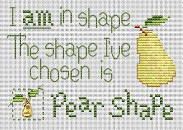 Pear Shape Post Stitches cross stitch chart with charm Sue Hillis Designs