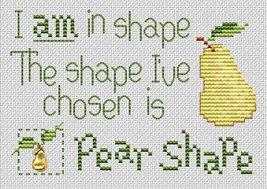 Pear Shape Post Stitches cross stitch chart with charm Sue Hillis Designs image 1