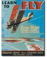 Learn to Fly Stratford, Conn. Curtiss Metal Sign Tin New Vintage Style U... - $10.29