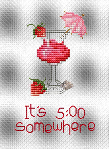 It's 5:00 Post Stitches cross stitch chart with charm Sue Hillis Designs