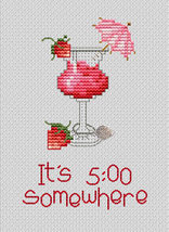 It's 5:00 Post Stitches cross stitch chart with charm Sue Hillis Designs image 1