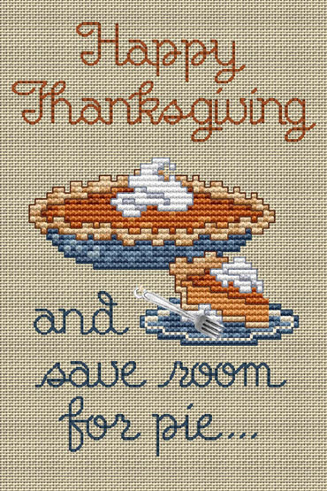Thanksgiving Pie Post Stitches cross stitch chart with charm Sue Hillis Designs