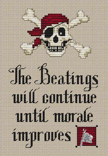 Pirate's Creed Post Stitches pirate cross stitch with charm Sue Hillis Designs