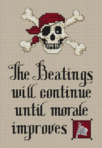 Pirate's Creed Post Stitches pirate cross stitch with charm Sue Hillis Designs image 1