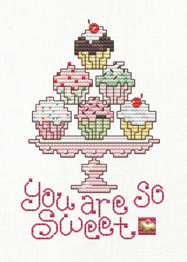 Cupcakes Post Stitches cross stitch chart with charm Sue Hillis Designs