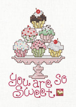 Cupcakes Post Stitches cross stitch chart with charm Sue Hillis Designs image 1