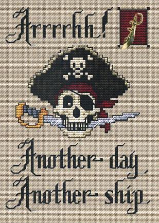Arrrgh Post Stitches pirate cross stitch chart with charm Sue Hillis Designs