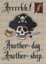 Arrrgh Post Stitches pirate cross stitch chart with charm Sue Hillis Designs image 1