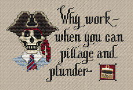Pillage & Plunder Post Stitches pirate cross stitch with charm Sue Hillis Design image 1