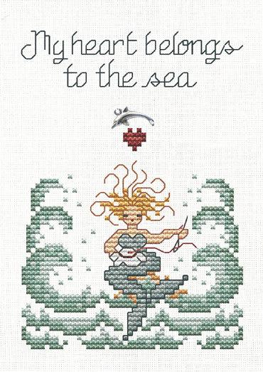 Stitching Mermaid Post Stitches cross stitch chart with charm Sue Hillis Designs