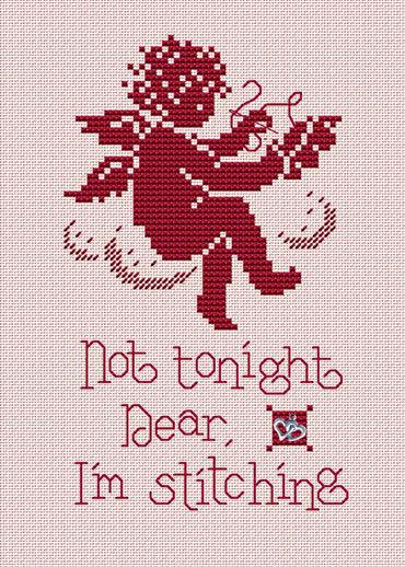 Not Tonight Post Stitches cross stitch chart with charm Sue Hillis Designs