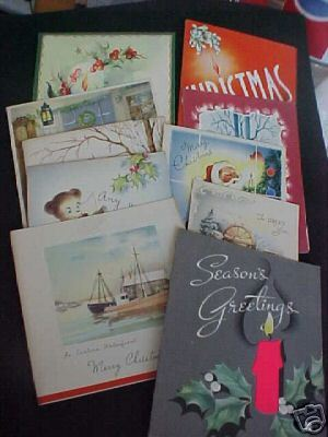 10 40-1950's 4 Fold Christmas Card Scrapbook Most Used  Bonanza