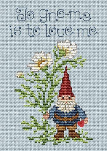 Garden Gnome Post Stitches cross stitch chart with button Sue Hillis Designs