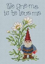 Garden Gnome Post Stitches cross stitch chart with button Sue Hillis Designs image 1
