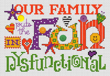 Dysfunctional Post Stitches cross stitch chart with buttons Sue Hillis Designs