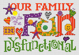 Dysfunctional Post Stitches cross stitch chart with buttons Sue Hillis Designs image 1