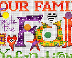 Dysfunctional Post Stitches cross stitch chart with buttons Sue Hillis Designs image 2