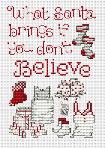 Believe Post Stitches cross stitch chart with charm Sue Hillis Designs