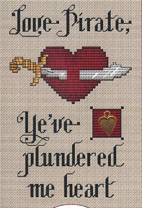 Love Pirate Post Stitches cross stitch chart with charm Sue Hillis Designs