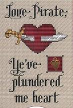 Love Pirate Post Stitches cross stitch chart with charm Sue Hillis Designs image 1