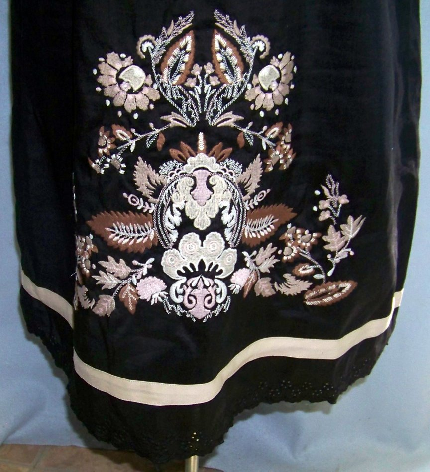 Black Linen Dress embroidery eyelet 2X Lino