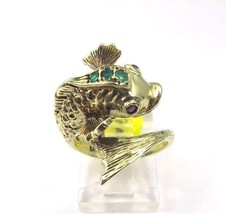 14k Yellow Gold Vintage Wrap Fish Ring With Emerald And Amethyst Birthst... - $934.15