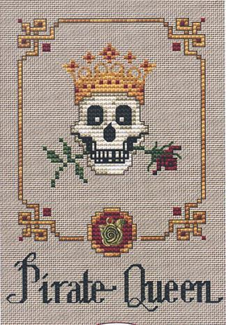 Pirate Queen Post Stitches cross stitch chart with charm Sue Hillis Designs