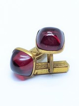 Red Glass Stone Vintage Cufflinks Cuff Links - $16.20