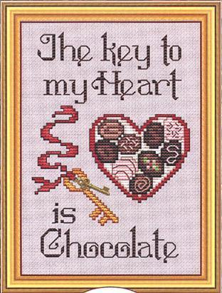 Key To My Heart Post Stitches cross stitch chart with charm Sue Hillis Designs