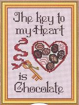 Key To My Heart Post Stitches cross stitch chart with charm Sue Hillis Designs image 1