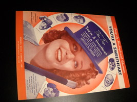Sheet Music You're A Sweetheart Alice Faye Universal 1937 Buddy De Sylva - $8.99