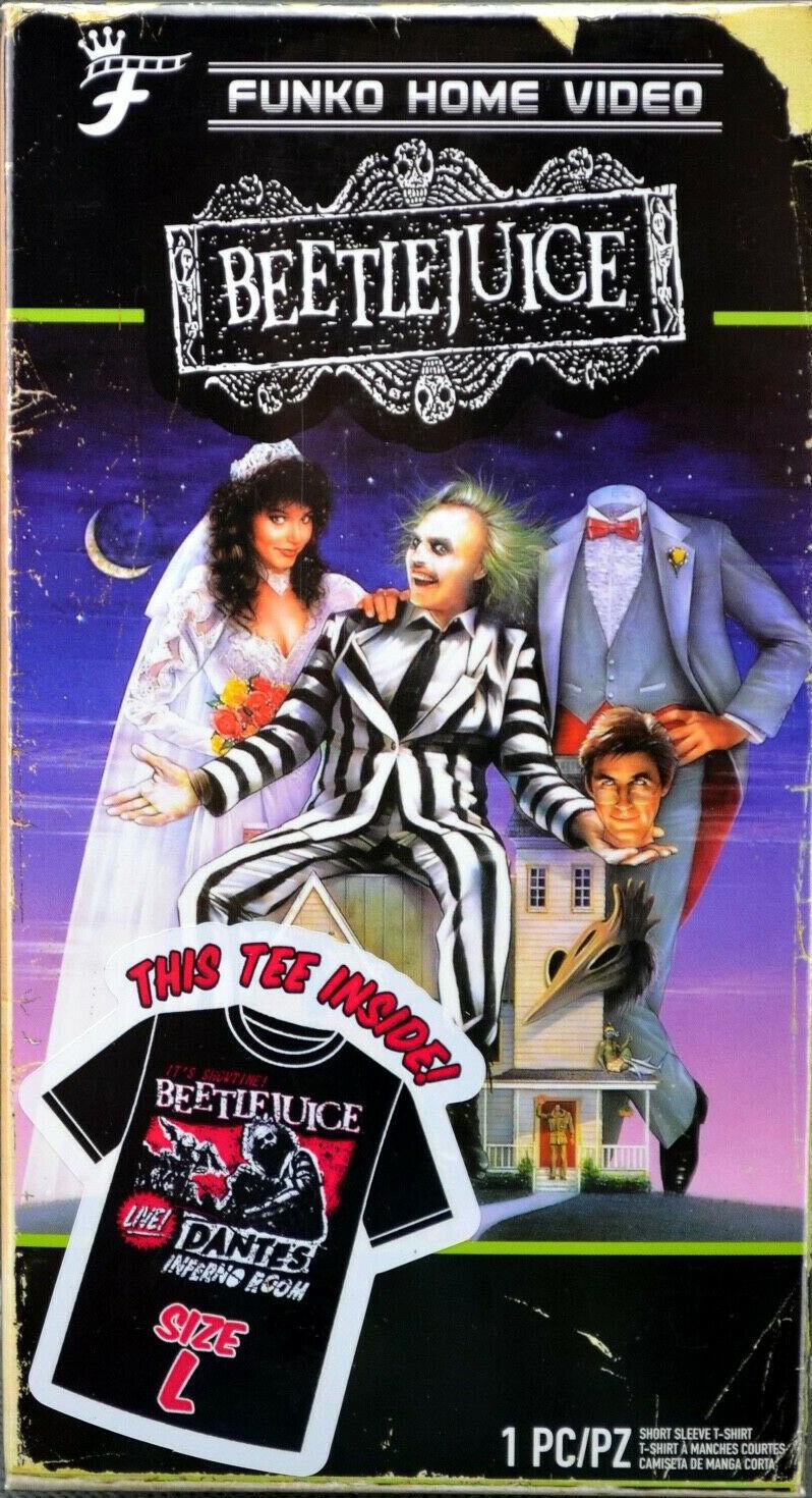 Homme Beetle Juice Funko Home Video VHS Emballé Manche Courte T-Shirt