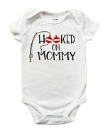 Hooked On Mommy Shirt, Mothers Day Shirt for Boys, Mothers Day Fishing S... - $11.99+