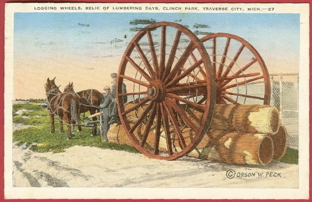 Traverse City Mi Clinch Park Logging Wheels Postcard BJs - $5.00