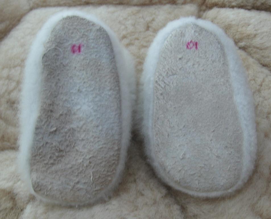 Soft white  Baby Alpaca Fur Slippers, 0 - 12 month