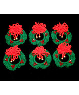 Set of 6 Handcrafted Crocheted Christmas Wreath Ornaments with Bells - $27.99