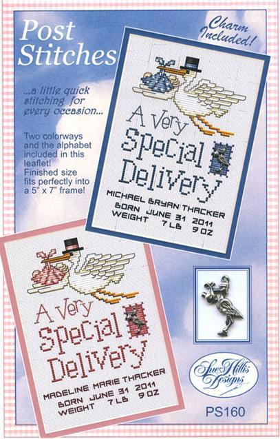 Special Delivery Post Stitches cross stitch chart with charm Sue Hillis Designs