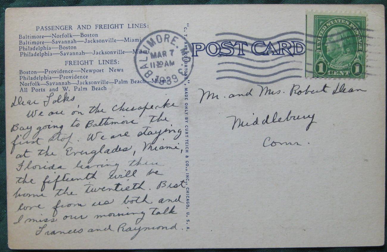 Curteich, white border, linen postcard, Merchants And Miner