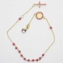 18K YELLOW GOLD ROSARY BRACELET, FACETED RED RUBY ROOT, CROSS & MIRACULOUS MEDAL image 2
